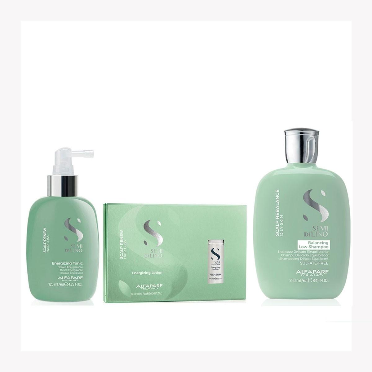 Kit Completo Anticaída Shampoo – Tónico - Ampolletas Scalp Renew Energizing Lotion Semi Di Lino Alfaparf