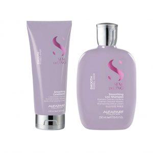 Kit Semi Di Lino Smooth Cabello Rebelde Shampoo - Acondicionador Alfaparf Milano