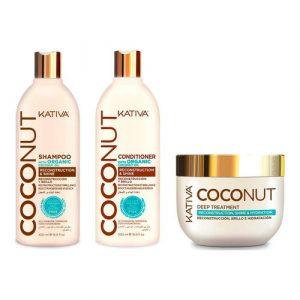 Kit Completo Coconut Shampoo - Acondicionador - Tratamiento Kativa