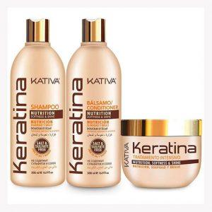 Kit Completo Keratina Shampoo - Balsamo - Tratamiento Kativa