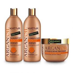 Kit Completo Argan Oil Shampoo - Acondicionador - Tratamiento Kativa