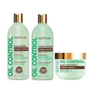 Kit Oil Control Cabello Graso Shampoo - Acondicionador - Tratamiento Kativa